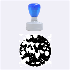 Artistic Cubes 9 Blue Rubber Round Stamps (medium) by MoreColorsinLife