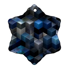 Artistic Cubes 9 Blue Snowflake Ornament (2 Side)