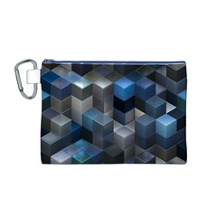 Artistic Cubes 9 Blue Canvas Cosmetic Bag (m) by MoreColorsinLife