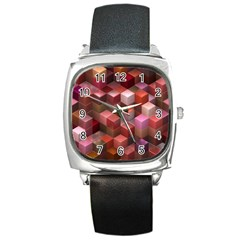 Artistic Cubes 9 Pink Red Square Metal Watches by MoreColorsinLife
