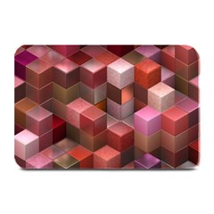 Artistic Cubes 9 Pink Red Plate Mats by MoreColorsinLife