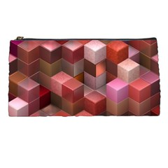 Artistic Cubes 9 Pink Red Pencil Cases by MoreColorsinLife