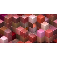 Artistic Cubes 9 Pink Red You Are Invited 3d Greeting Card (8x4)