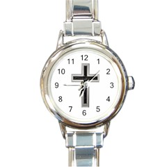 Christian Cross Round Italian Charm Watch by igorsin