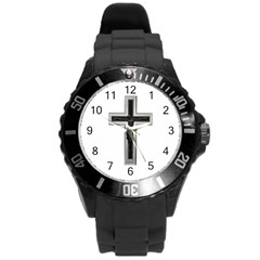 Christian Cross Round Plastic Sport Watch (l) by igorsin
