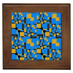 Blue Yellow Shapes Framed Tile by LalyLauraFLM