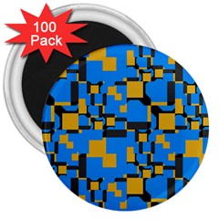 Blue Yellow Shapes 3  Magnet (100 Pack) by LalyLauraFLM