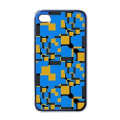 Blue Yellow Shapes Apple Iphone 4 Case (black) by LalyLauraFLM