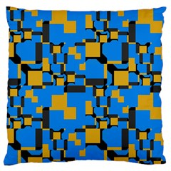 Blue Yellow Shapes Large Cushion Case (two Sides) by LalyLauraFLM