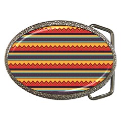 Waves And Stripes Pattern Belt Buckle by LalyLauraFLM
