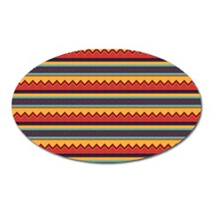 Waves And Stripes Pattern Magnet (oval) by LalyLauraFLM