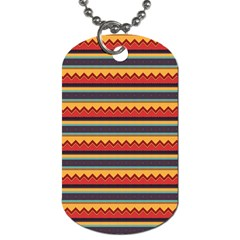Waves And Stripes Pattern Dog Tag (one Side) by LalyLauraFLM