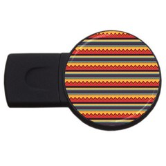 Waves And Stripes Pattern Usb Flash Drive Round (4 Gb) by LalyLauraFLM