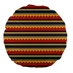 Waves And Stripes Pattern Large 18  Premium Round Cushion  by LalyLauraFLM