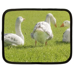 Group Of White Geese Resting On The Grass Netbook Case (xl)  by dflcprints