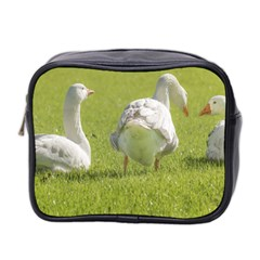 Group Of White Geese Resting On The Grass Mini Toiletries Bag 2 Side by dflcprints