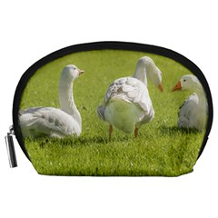Group Of White Geese Resting On The Grass Accessory Pouches (large)  by dflcprints