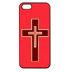 Red Christian Cross Apple Iphone 5 Seamless Case (black) by igorsin