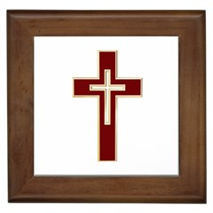 Red Christian Cross Framed Tile by igorsin
