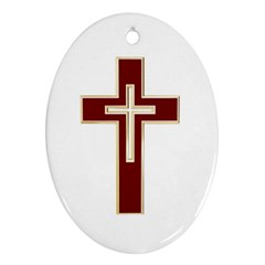 Red Christian Cross Ornament (oval) by igorsin