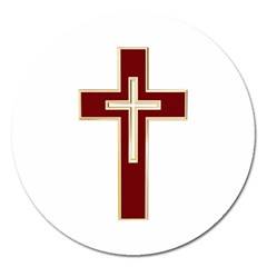 Red Christian Cross Magnet 5  (round) by igorsin