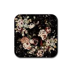 Dark Roses Rubber Square Coaster (4 Pack)  by LovelyDesigns4U