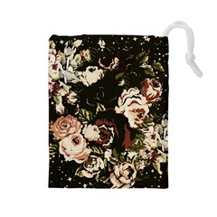 Dark Roses Drawstring Pouches (large)  by LovelyDesigns4U