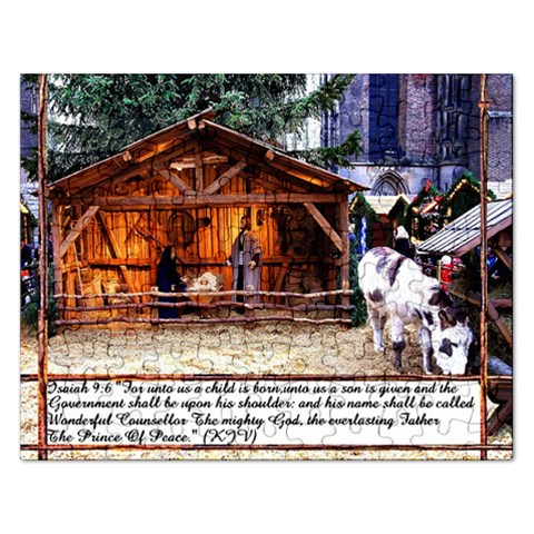 Isaiah 9:6  For Unto Us A Child Is Born Unto Us A Child Is Given, The Government Shall  Rest Unto His Shoulder , His Name Shall Be Called Wonderful , Consellor , The Mighty God, Prince Of Peace By Pamela Sue Goforth   Jigsaw Puzzle (rectangular)   3nlvrisuzpmb   Www Artscow Com Front