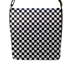 Black White Check Flap Closure Messenger Bag (l) by 4SeasonsDesigns