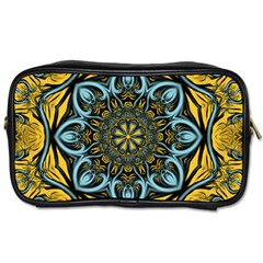 Blue Floral Fractal Toiletries Bags 2 Side by igorsin