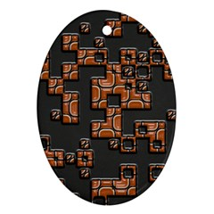 Brown Pieces Oval Ornament (two Sides) by LalyLauraFLM
