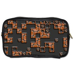 Brown Pieces Toiletries Bag (one Side) by LalyLauraFLM