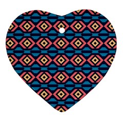Rhombus  Pattern Heart Ornament (two Sides) by LalyLauraFLM