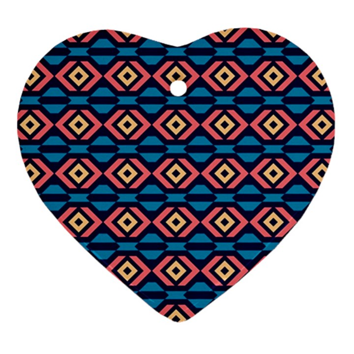 Rhombus  pattern Heart Ornament (Two Sides)