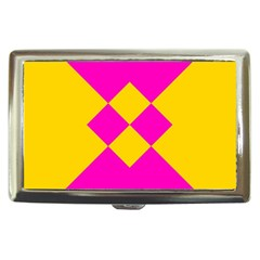 Yellow Pink Shapes Cigarette Money Case by LalyLauraFLM