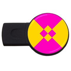 Yellow Pink Shapes Usb Flash Drive Round (2 Gb) by LalyLauraFLM