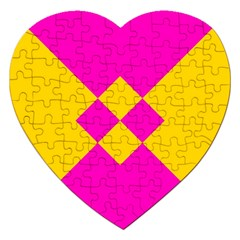 Yellow Pink Shapes Jigsaw Puzzle (heart) by LalyLauraFLM