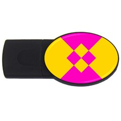 Yellow Pink Shapes Usb Flash Drive Oval (4 Gb) by LalyLauraFLM
