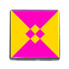 Yellow Pink Shapes Memory Card Reader (square) by LalyLauraFLM
