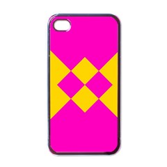 Yellow Pink Shapes Apple Iphone 4 Case (black) by LalyLauraFLM