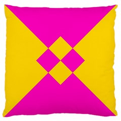 Yellow Pink Shapes Large Cushion Case (two Sides) by LalyLauraFLM