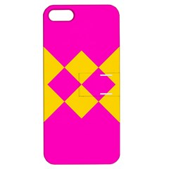 Yellow Pink Shapes Apple Iphone 5 Hardshell Case With Stand by LalyLauraFLM