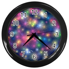 Sparkling Lights Pattern Wall Clocks (black) by LovelyDesigns4U