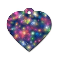 Sparkling Lights Pattern Dog Tag Heart (one Side) by LovelyDesigns4U