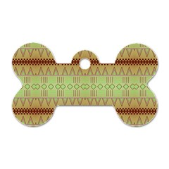 Aztec Pattern Dog Tag Bone (two Sides) by LalyLauraFLM