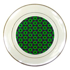 Stars In Hexagons Pattern Porcelain Plate by LalyLauraFLM