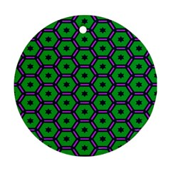 Stars In Hexagons Pattern Round Ornament (two Sides) by LalyLauraFLM