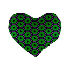 Stars In Hexagons Pattern Standard 16  Premium Heart Shape Cushion  by LalyLauraFLM