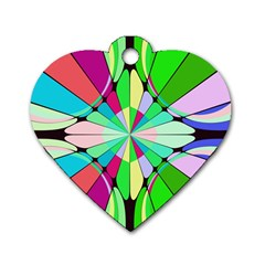 Distorted Flower Dog Tag Heart (one Side) by LalyLauraFLM