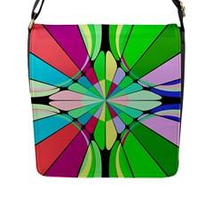 Distorted Flower Flap Closure Messenger Bag (l) by LalyLauraFLM